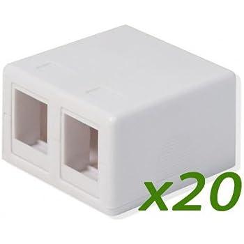 BOX OF 40 LOADED CablesToGo 1-PORT CAT5E SURFACE MOUNT BOX Ivory