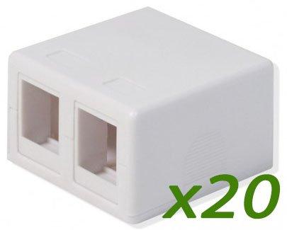(Logico (20Pack) SMB202 2-Port White Keystone Jack CAT5e/CAT6 Surface Mount Box)