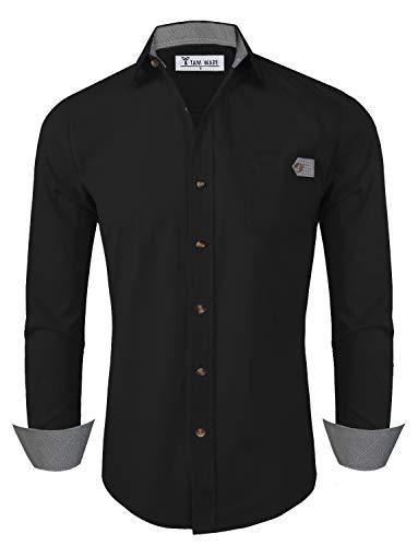 - TAM WARE Mens Classic Slim Fit Checkered Contrast Long Sleeve Dress Shirts TWNMS311SN-BLACK-XXL