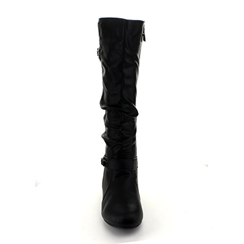 Mango 21 Womens Quilted Knee High Buckle Riding Boots Black 6.5 G4Zs8NH