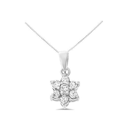 White Gold Diamond Square Pendant - 0.24CTW 14K White Gold Genuine Natural Diamond Flower Pendant With Square Box Chain Necklace
