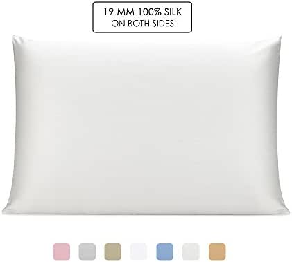 OLESILK 100% Mulbery Silk Pillowcase with Hidden Zipper for Hair and Skin Beauty,Both Sides 19mm Charmeuse Gift Box - Ivory, Standard