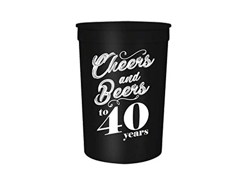 (Cheers and Beers to 30,40,50,60 Years Birthday Party Cups, Set of 12, 16oz Black and White Stadium 30th, 40th, 50th, and 60th Birthday Cups, Perfect for Birthday Parties, Birthday Decorations (40) )