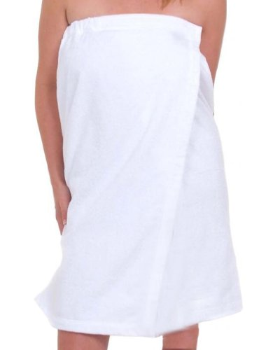 robesale Bath Wraps for Women, Terry Cloth Cotton Womens Cover Up Free Embroidery White, S/M Size by robesale