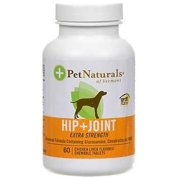 Pet Naturals du Vermont et Hip Joint Force supplémentaire pour chiens Poulet Foie - 120 Comprimés à croquer