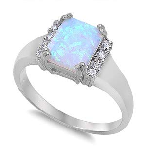 Jewelry Gift for Women Glitzs Jewels 925 Sterling Silver Created Opal Ring White With Clear CZ