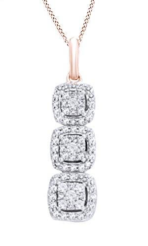 White Square Diamond Pendant Gold - Jewel Zone US White Natural Diamond Past Present Future Square Frame Pendant Necklace in 10k Rose Gold (0.33 Carat)