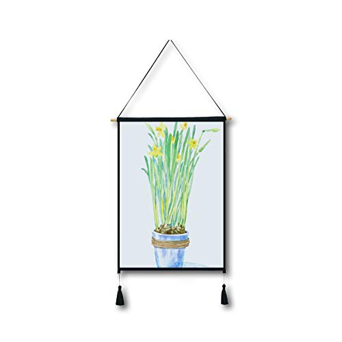 Grow Easter Lily (RYUIFI Fashion Tapestry Wall Hanging Paintings Unique Potted Watercolor Painting Plant Art Green Leaf Flower 3D Hd Digital Printing Cotton&Linen Electric Box Table Background Wall Decoration)