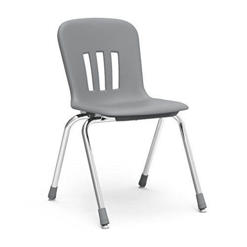 Virco Student Chairs, Gray, Soft Plastic Shell, 18