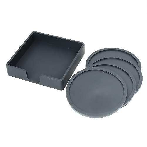 Non Slip Food Grade Soft Silicone Black Coaster Drink Coasters Set of 4-Protect Wood Granite Glass Soapstone Sandstone Marble Stone Tables 3.46