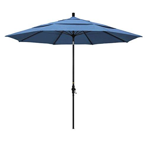 California Umbrella 11' Round Aluminum Pole Fiberglass Rib Market Umbrella, Crank Lift, Collar Tilt, Black Pole, Forest Blue Olefin ()