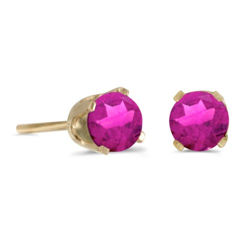 14k Yellow Gold 4 mm Round Pink Topaz Stud Earrings
