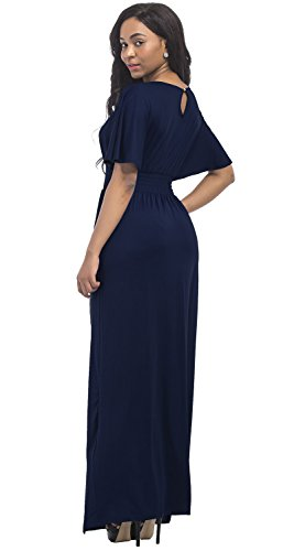 Plus Long Women's Maxi Short Size Sleeve Neck Party Solid Navy V Aecibzo Evening Dress xUPqCwYvq