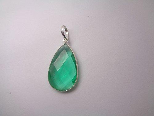 Colombian Emerald Teardrop Pendant, Silver Filled Pendant, Birthstone Pendant