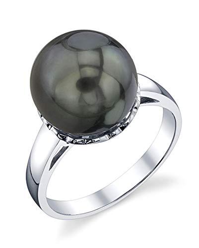 - THE PEARL SOURCE 10-11mm Genuine Black Tahitian South Sea Cultured Pearl Laurel Ring for Women