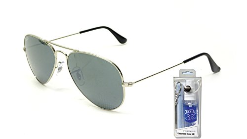 Ray Ban RB3025 W3277 58mm Silver Mirror Lens Aviator Sunglasses Bundle-2 - Ban Aviators Silver Mirrored Ray