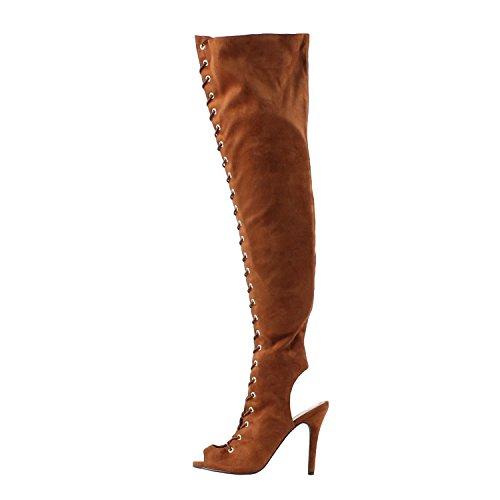 Breckelles Donna Randi-23 In Finta Pelle Scamosciata Con Lacci Sul Retro Cut-out Coscia Alta Boot Tan