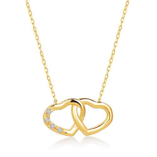 Gelin 14k Yellow Gold 0.01 ct Diamond Intertwined Double Open Heart Chain Necklace for Women - with Certificate and Lovely Jewelry Box, 18 ()
