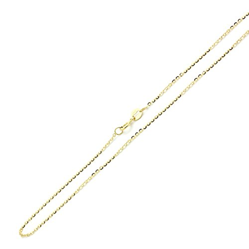 - 14K Solid Gold 0.85mm Diamond Cut Rolo Link Chain Necklace- Spring Ring Clasp-Multiple colors Available (Yellow, 16)