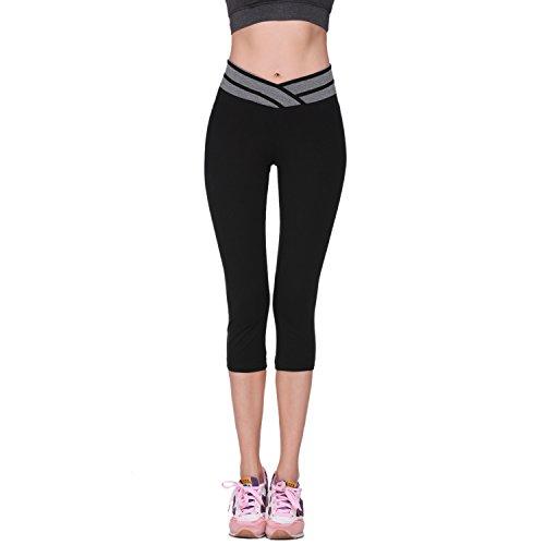 [Osne4u Women's Sport Running Yoga Gym Fitness Capri Leggings Stretch Pants V Shape Elastic Waist] (Sexy Halloween Cost)