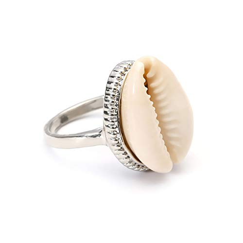 (ZLY Bohemian Simple Natural Cowrie Shell Rings for Women, Fashion Gold Adjustable Open Rings Jewelry Gifts (Silver))