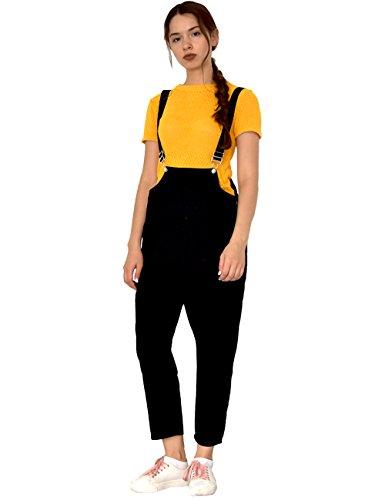 Zenthace Women's Vintage Baggy Fit Wide Leg Bib Jumpsuits Rompers Overalls Workwear Loose Harem Pants(Black,XL)