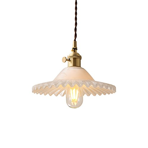 CGJDZMD Retro Simple Petal-Shaped Glass Ceiling Light Height-adjustable Metal Brass Chandelier Dining Room Living Room Bedroom Stairs E27 1 Light Pendant Light (Color : White)