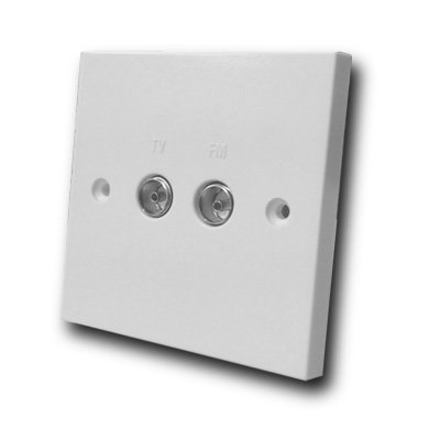 TV 2 Gang Twin Isolated Co-Axial TV/FM Socket - White Plastic