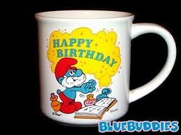 (Vintage Happy Birthday Papa Smurf Mug Peyo 1982 Collector Mugs W. Berrie & Co Smurfs)