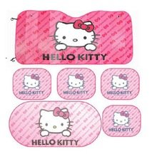 6pcs Pink Hello Kitty Car Sun Shade Rear Head Back Side Window Sunshade Cover Mesh Visor Shield Screen and Aluminium Foil Flap