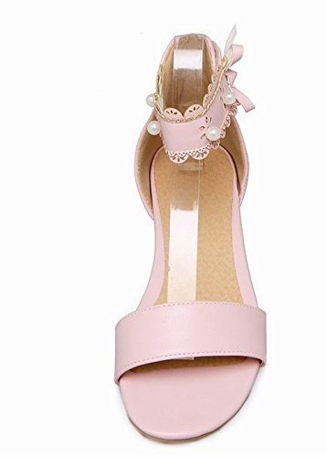 Loop Pink Hook Pu Solid Women's Low Toe WeiPoot Open Sandals Heels EGHLH006387 wITPC