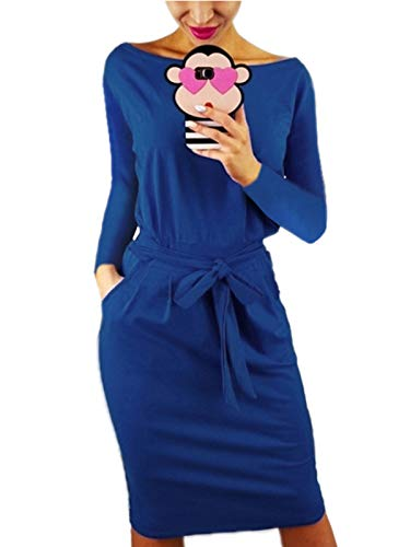 kigod Women Casual Round Neck Long Sleeve Midi Dress Wear to Work Belted Pencil Dress with Pockets(Blue, ()