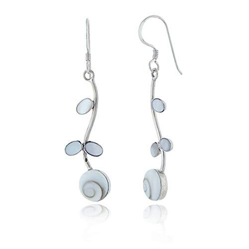 925 Sterling Silver White Mother of Pearl Shiva Eye Shell Flower Long Drop Dangle Earrings