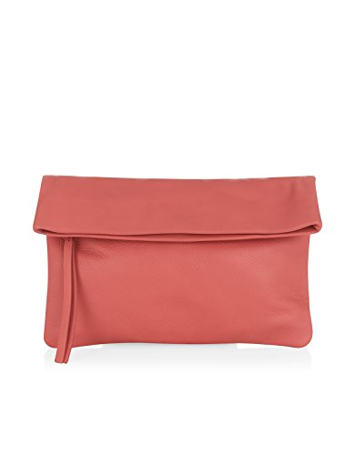 Monsoon Womens Brixton Foldover Leather Clutch Size 00 Pink