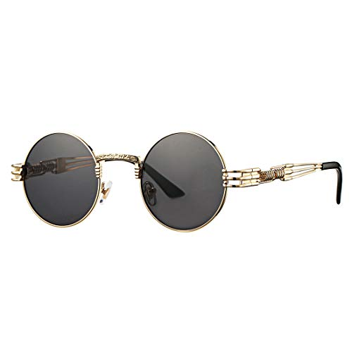 COASION Vintage Round John Lennon Sunglasses Steampunk Gold Metal Frame Clear Sun Glasses (Gold Frame/Grey Lens)
