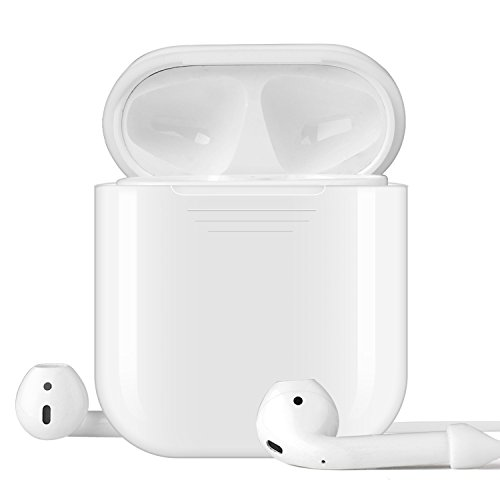 TNP Silicone Shock Resistant Cover Case for Apple Airpod w/Anti Lost Strap, Ear hooks Sports Fin & EVA Protective Storage Case (White) (Action Sports Hooks Ear)