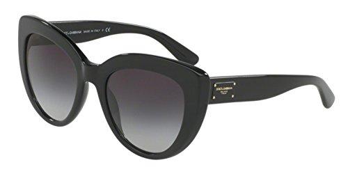 Dolce & Gabbana Women's Acetate Woman Sunglass Cateye, Black, 53 mm