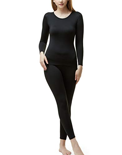 TSLA Blank Women's Top & Bottom Set w Microfiber, Thermal Set(whs200) - Black, Medium