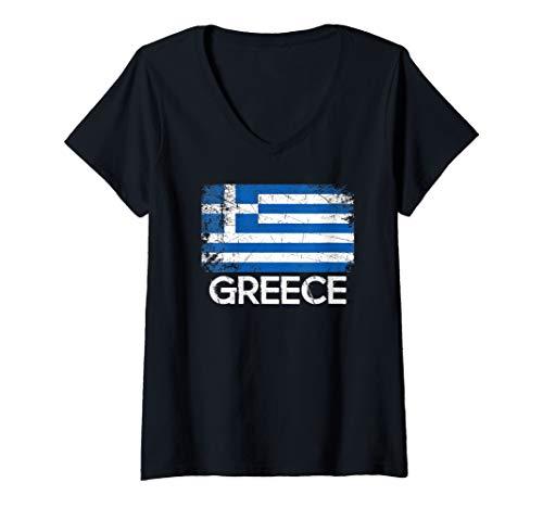 (Womens Greek Flag Design | Vintage Made In Greece Gift V-Neck T-Shirt)