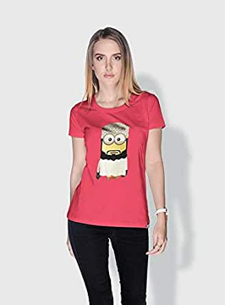 Creo Oman Minions Round Neck T-Shirt For Women - Pink, L