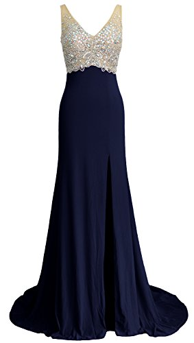 MACloth Elegant Mermaid V Neck Long Prom Dress Jersey Formal Party ...