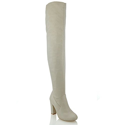 Womens Thigh High Block Heel Ladies Fashion Over The Knee High Stretch Leg Boots Nude Faux Suede
