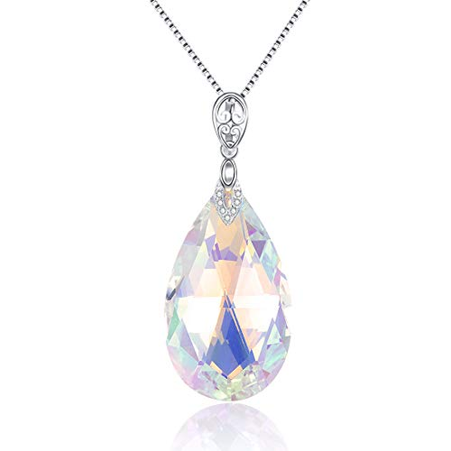 JIANGXIN 45cm Fine Jewellery Pear Shape 925 Sterling Silver Pendant Necklace Drop Earring Color Changing Crystals Valentines Birthday Gift Dangle for Women with Elegant Jewellery Box