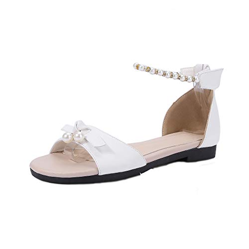 Mini Sólido TSMLG005410 Sandalias Tacón AalarDom PU de Blanco Mujeres Velcro Vestir ZwET7pq