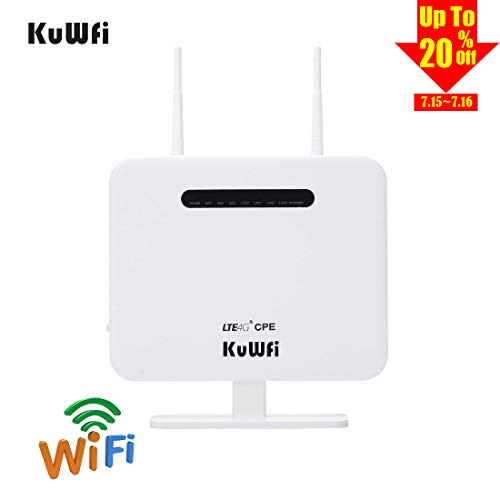 KuWFi 4G LTE CPE Router,300Mbps Unlocked 4G LTE CPE Wireless Router with SIM Card Slot Two Outdoor Antenna 4 LAN Port WiFi Hotspot high Speed for 32 Users Work in Caribbean,Europe,Asia,Middle East