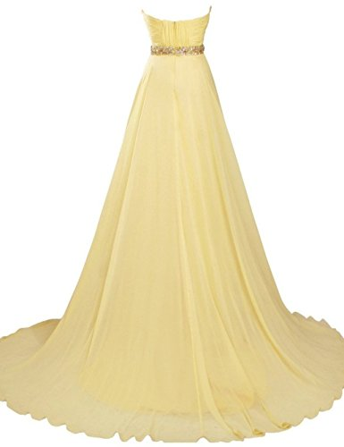 Bridal Dresses Empire Chiffon Long Evening Beaded Women's Gowns Annie's Pink Bridesmaid dqwz1dT