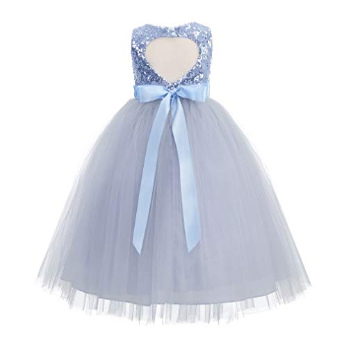 ekidsbridal Heart Cutout Sequin Junior Flower Girl