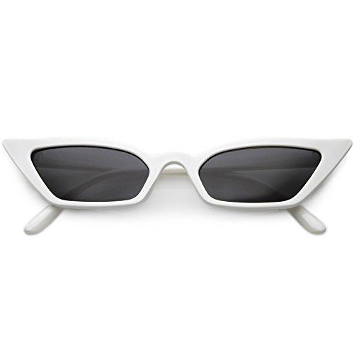 sunglassLA - 90s Small Vintage Cat Eye Sunglasses for Women with Thin Extreme Rectangle Frames (White/Smoke) (Slim Cat Eye Sonnenbrille)
