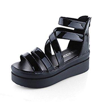LvYuan Tacón Plano-Confort-Sandalias-Informal-PU-Negro Blanco Black