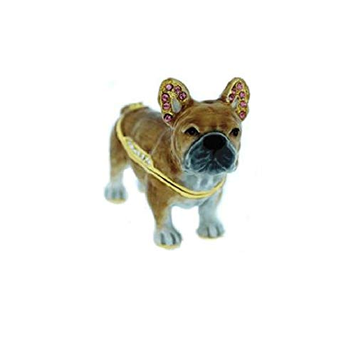 Home and Holiday Shops French Bulldog Bejeweled Enamel Dog Trinket Box Bejeweled Dog Trinket Box